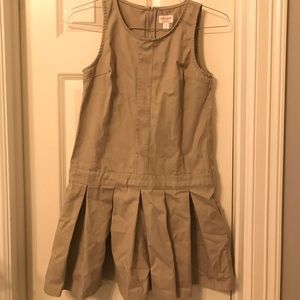Cat & Jack Khaki Uniform Pleated Jumper Dress 12